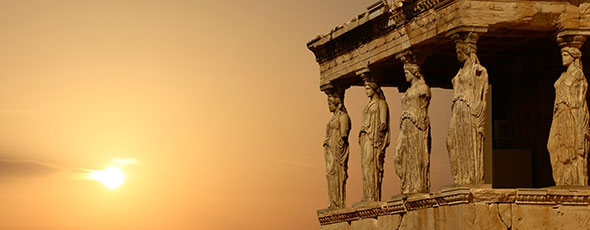 actu_grec_pano.jpg (Caryatids on the Athenian Acropolis at sunset, Greece)