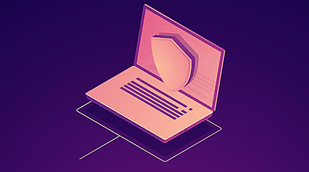 Computer data protection, laptop with shield, data safety isometric vector
