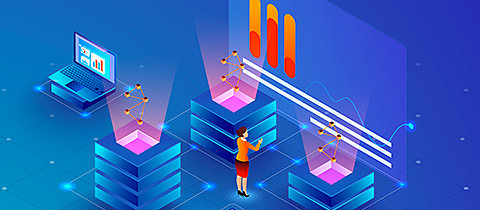 Big Data Analysis concept, business woman maintain data servers or analysis stats on shiny blue background, isometric design for web template.